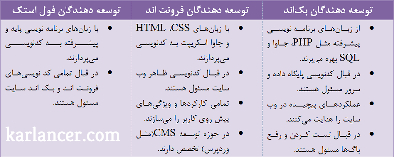 انواع توسعه دهنده سایت