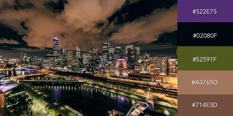 پالت رنگی آسمان شب در شهر