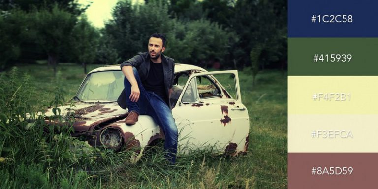 پالت رنگی خودرو قدیمی و جین های آبی