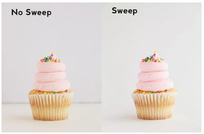 تصویر با و بدون sweep در عکاسی از محصول